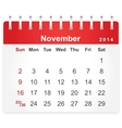 Stylish calendar page for November 2014 vector image