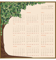 tree frame calendar 1 page 2014 vector image vector image