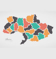 ukraine map with states and modern round shapes vector image vector image