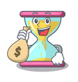 with money bag character hourglass concept for vector image