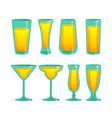 set of glass cups vector image