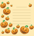 greeting card with halloween pumpkins vector image
