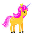 cute yellow unicorn with pink mane and crown vector image