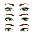 green female eyes set vector image