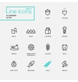 Allergens - simple thin line design icons vector image