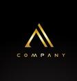 alphabet letter a gold golden luxury logo vector image vector image