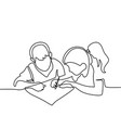 boy and girl drawing on paper vector image
