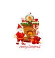 christmas greeting card with santa gift stocking vector image vector image