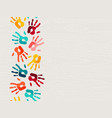 color human hand print background concept vector image