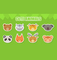 cute baanimals stickers collection head of vector image