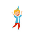 cute boy in party hat having fun at birthday party vector image vector image