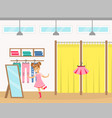 cute girl kid trying on pink dress in clothing vector image