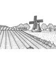 dashed outline summer landscape vector image vector image