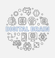 digital brain concept round in vector image