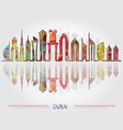 dubai city skyline background vector image vector image