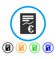 euro report rounded icon vector image vector image