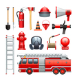 Firefighter Equipment And Machinery Icons Set vector image