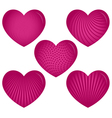 Five Pink Hearts with Patterns vector image vector image