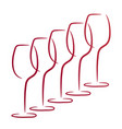 Five wine glasses business logo winery concept