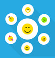 flat icon expression set of frown smile grin and vector image vector image