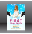 foam party flyer with beautiful girl vector image vector image