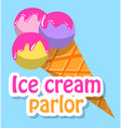 frozen cream in waffle cone ice-cream logo vector image