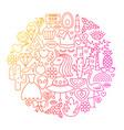 girl fashion line icon circle design vector image vector image