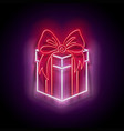 glow gift box with beautiful bow vector image