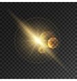 Glowing light flash Sparkling golden sun rays vector image