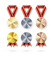 golden silver and bronze medals with laurel vector image