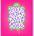 handwritten graffiti font alphabet set on pink vector image vector image