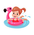 happy girl swimming with pink inflatable lifebuoy vector image vector image