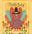 happy thanksgiving day turkey with hat branch vector image