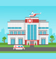 hospital building health centre medical clinic vector image vector image