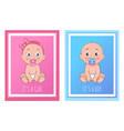 its a boy and girl posters set newborn toddlers vector image vector image