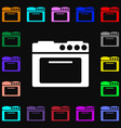 kitchen stove icon sign Lots of colorful symbols vector image vector image