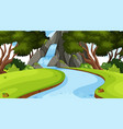 landscape background design with waterfall in vector image vector image