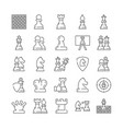large set chess icons with pieces and moves vector image