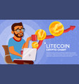 litecoin up trend growth concept trade vector image vector image