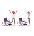 male female young wheelchair user rehabilitation vector image vector image
