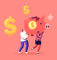 man and woman characters carry huge piggy bank vector image
