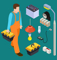 master electrician and tools isometric set vector image vector image