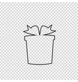 outline black silhouette of giftbox on vector image