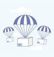 package flying on parachute delivery service vector image vector image