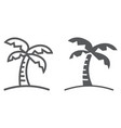 Palm tree line and glyph icon travel