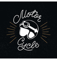 Retro racer helmet and motorcycle hand lettering vector image