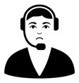 sad call center operator black icon vector image vector image