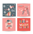 set cute hand drawn doodle christmas cards vector image