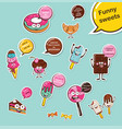 set of funny desserts and sweets cartoon face vector image