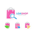 shop and loupe logo combination sale vector image vector image
